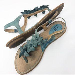 b.o.c. | Leather Blue Floral T-Strap Sandal Size 8
